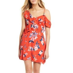 Cordetta Floral Asymmetrical Ruffle Dress
